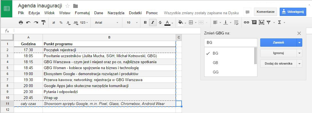 GoC Sprawdzanie pisowni