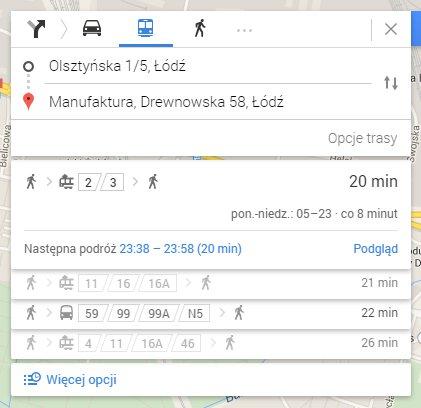 Google Maps - Transport publiczny