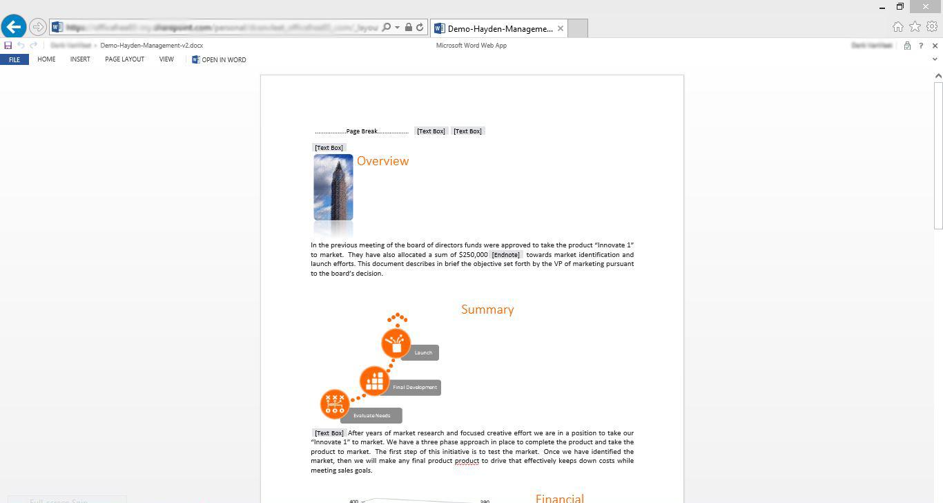 Jakość rozwiązań chmurowych - Rys 3 Edycja dokumentu w Office Web Apps