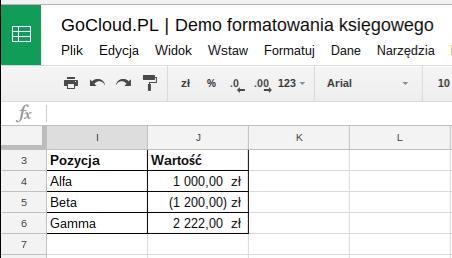 GoCloud.PL Demo formatowania ksiegowego
