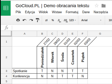 GoCloud.PL Demo obracania tekstu
