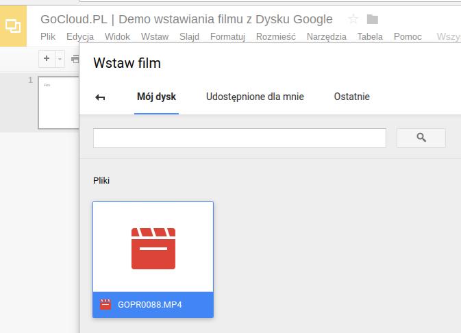GoCloud.PL Demo wstawiania filmu z Dysku Google
