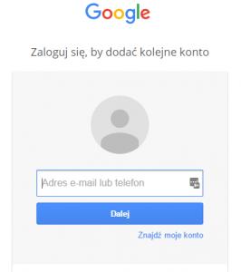 Strona logowania Google